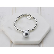 Silver With Grey Pearl Bracelet