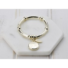 Gold Disc Stretch Bangle Bracelet