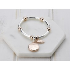 Mixed Rose Gold & Silver Disc Stretch Bangle Bracelet