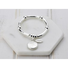 Silver Disc Stretch Bangle Bracelet