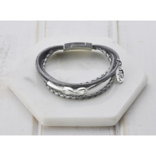 Grey Leather & Silver Bracelet