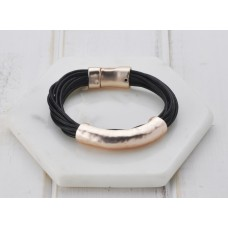Black Leather Rose Bar Bracelet