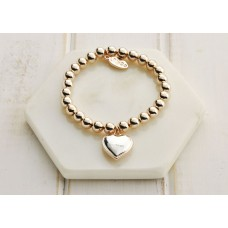 Rose Gold Solid Heart Bracelet - LARGER SIZE BRACELET