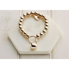 Rose Gold Battered Ball Bracelet - LARGER SIZE BRACELET