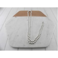 Silver Ball Chain With White Knots
