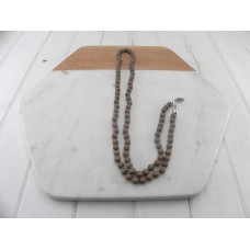 Matt Beige Knotted Bead Necklace