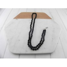 Matt Black Knotted Bead Necklace