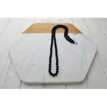 Dark Navy Knotted Resin Beads with Silver Clasp Necklace