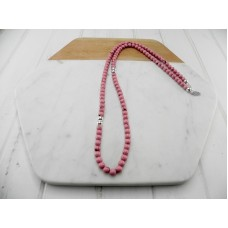 Pink Mottled Resin and Silver Bead Necklace