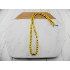 Yellow Mottled Resin and Silver Bead Necklace