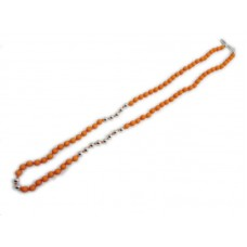 Orange and Silver Bead Necklace