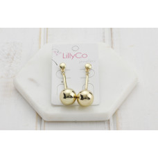 Gold Drop Ball Earring