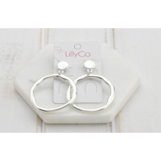 Silver Battered Ring Earring