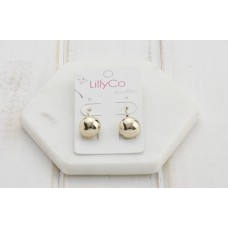 Gold Drop Button Earrings