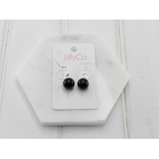 Silver Black Resin Earring