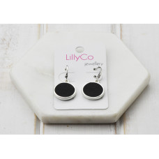 Silver Black Disc Earring