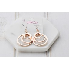 Rose Gold 3 Ring Earring