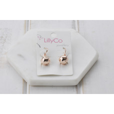 Shiny Rose Gold Ball Earring