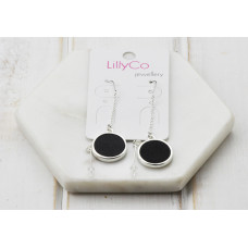 Silver & Black Leather Thread Earring