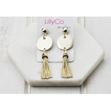 Gold Disc/Tassel Earring