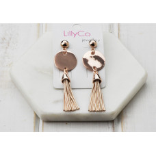 Rose Disc/Tassel Earring