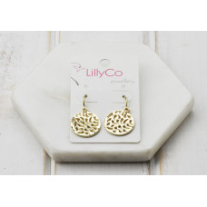 Gold Cut out Disc Earring