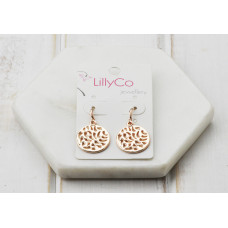 Rose Cut out Disc Earring