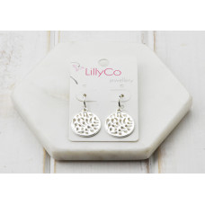 Silver Cut out Disc earring