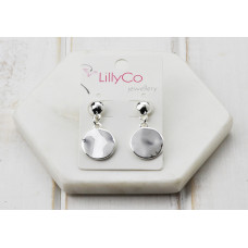 Silver Battered Disc Earring