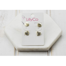 Gold 2 Pair Heart Crystal Earring
