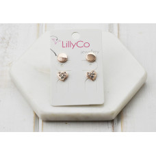 Rose 2 Pair Heart Crystal Earring