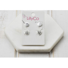 Silver 2 Pair Heart Crystal Earring