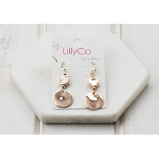 Rose Gold 2 Disc Earring