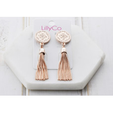 Rose Gold Pattern Disc & Tassel Earring