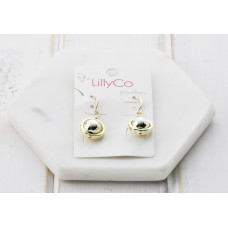Gold Round Drop Earring
