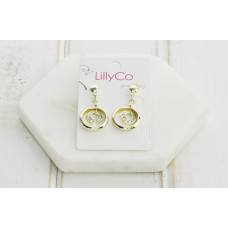 Gold 2 Ring Crystal Earring