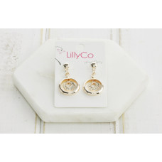 Rose Gold 2 Ring Crystal Earring