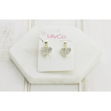 Gold Heart Crystal Earring