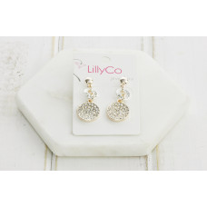 Mixed Silver & Rose Crystal Drop Earring