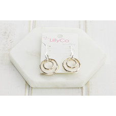 Rose Gold & Silver Double Ring Earring