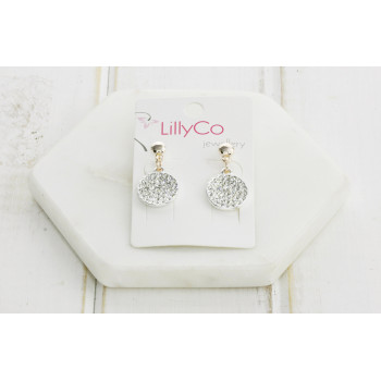 Rose Gold/Silver Mixed Crystal Disc Earring