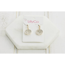 Rose Gold Crystal Disc Earring