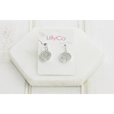 Silver Crystal Disc Earring