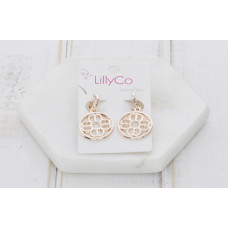 Rose Gold Cut Out Pendant Earring