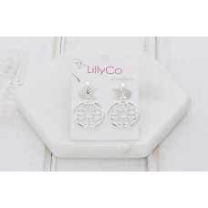 Silver Cut Out Pendant Earring