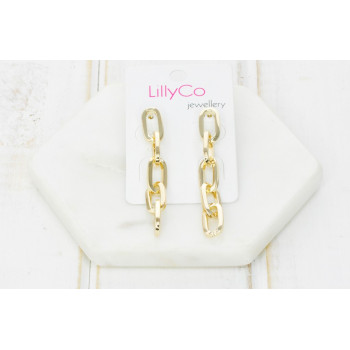 Gold Link Chain Earring