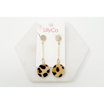 Gold Plating with Brown Animal Print Drop Earring