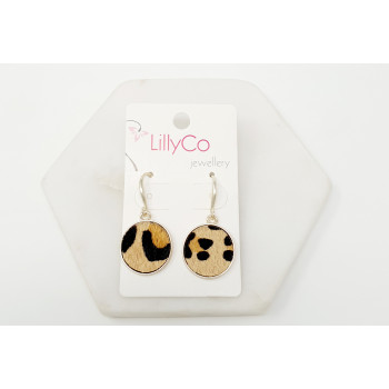 Gold Plating with Brown Animal Print Earring