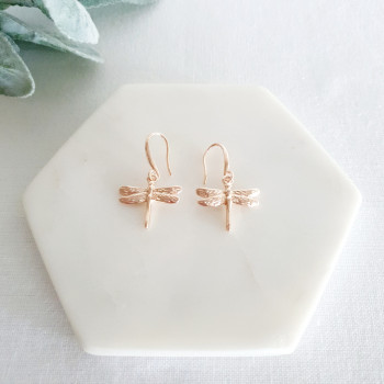 Rose Gold Dragonfly Earring