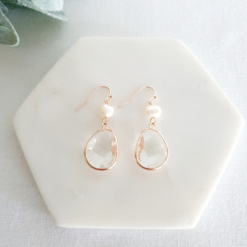 Rose Gold Pearl & Crystal Earring
